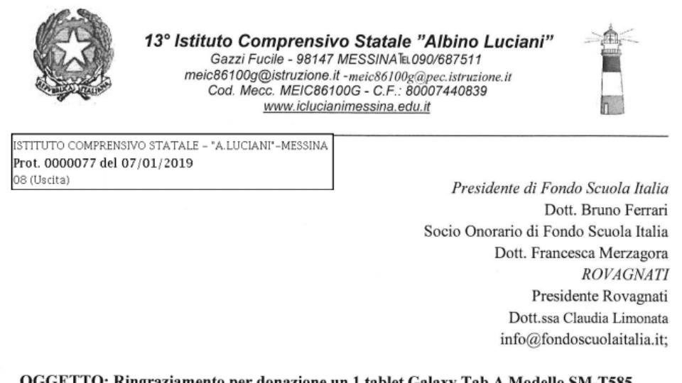 Istituto Albino Luciani ringrazia Rovagnati e Fondo Scuola Italia