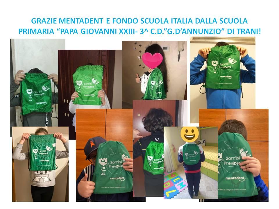GRAZIE MENTADENT E FONDO SCUOLA ITALIA DALLA SCUOLA